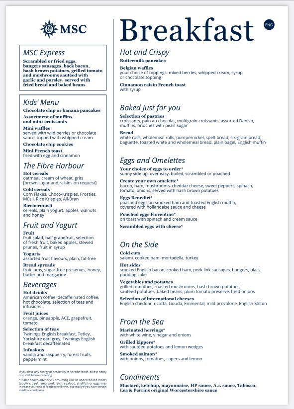 MSC Cruises breakfast menu