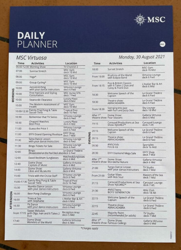 MSC Cruises daily planner