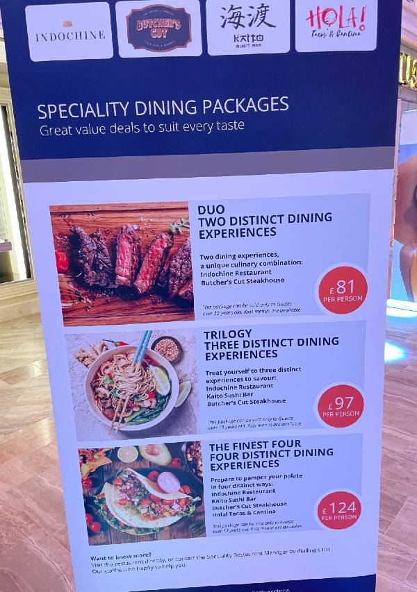 MSC Virtuosa specialty dining packages