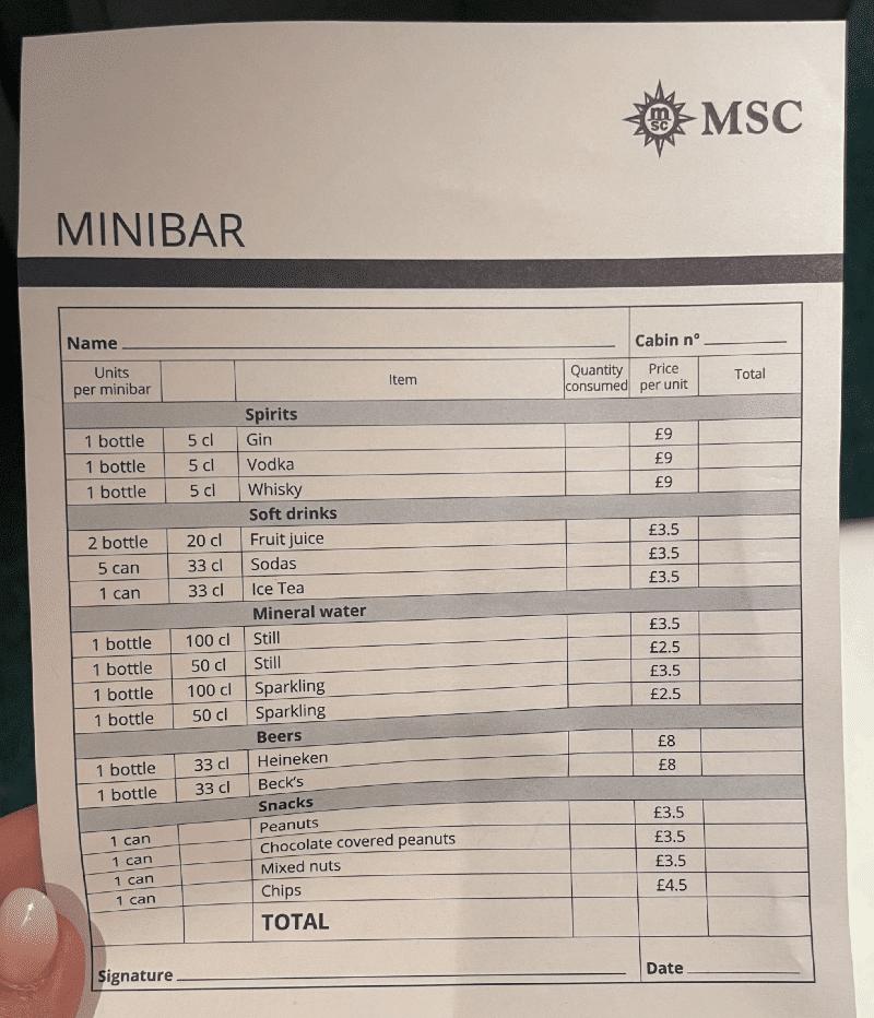 MSC Cruises Minibar price list