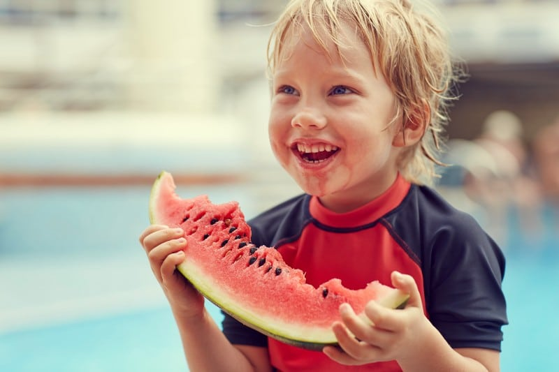 P&O Cruises child with watermelon