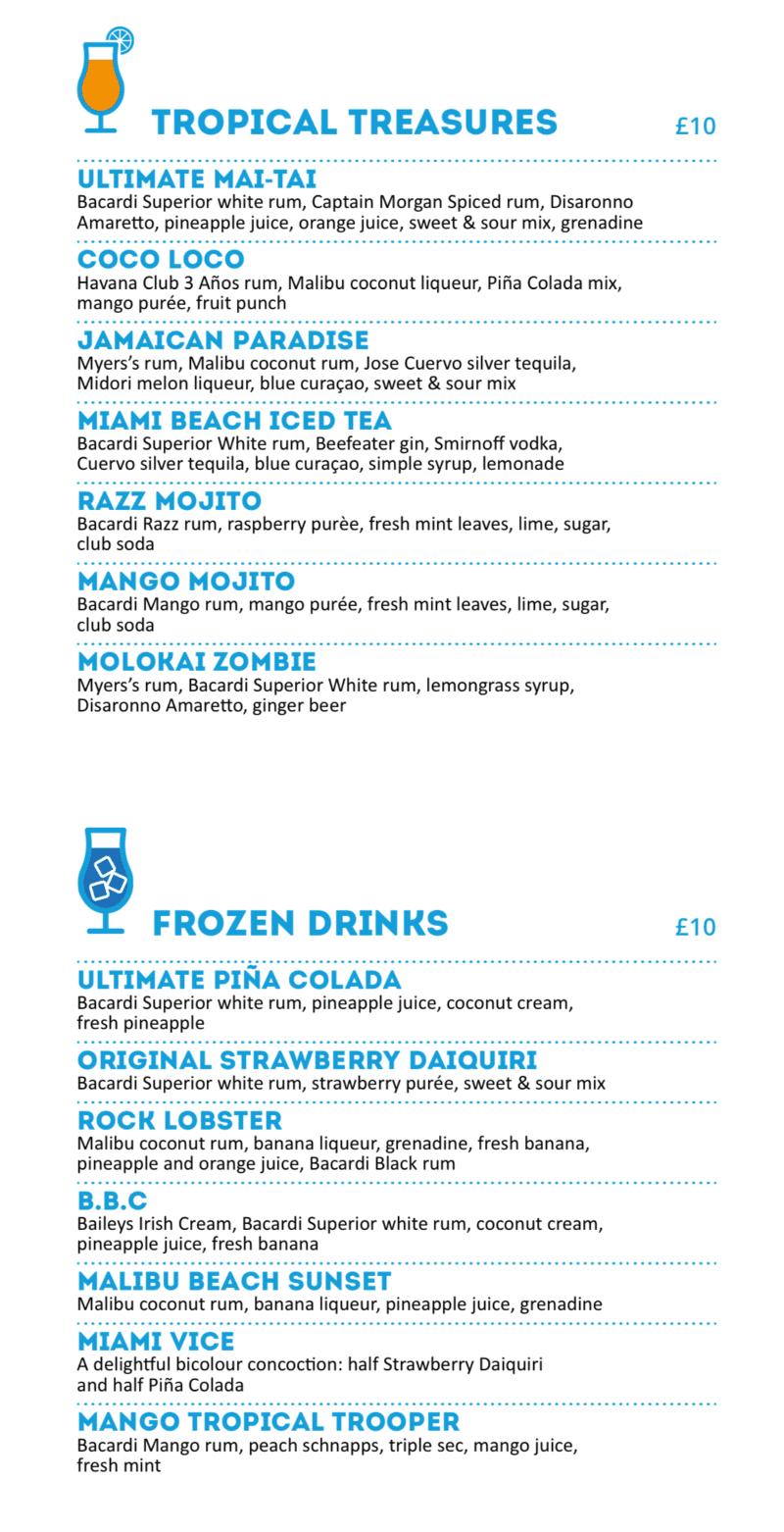 MSC Cruises Pool Bar cocktail menu
