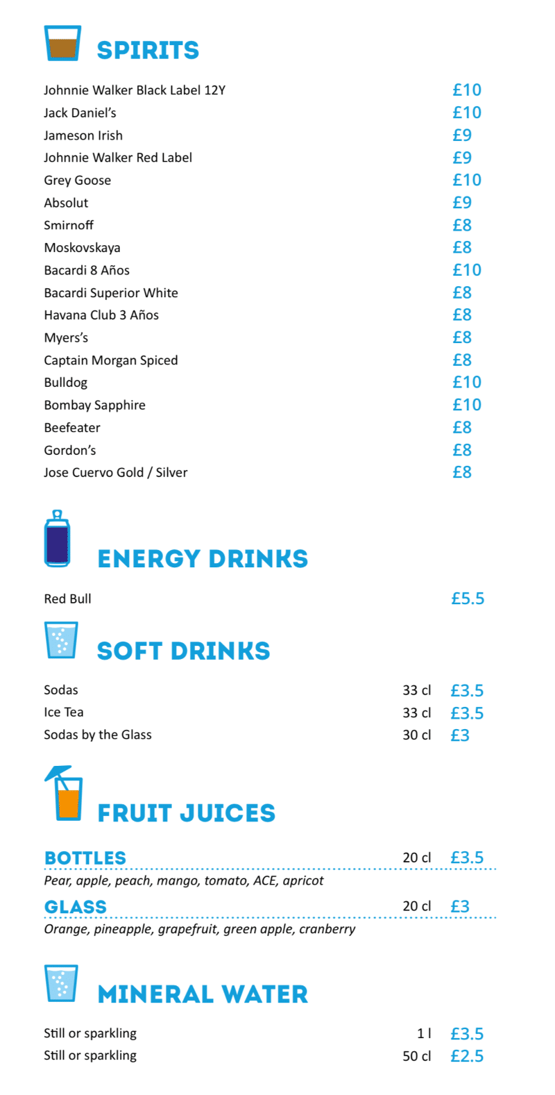 MSC Cruises Pool Bar spirits and soft drinks menu