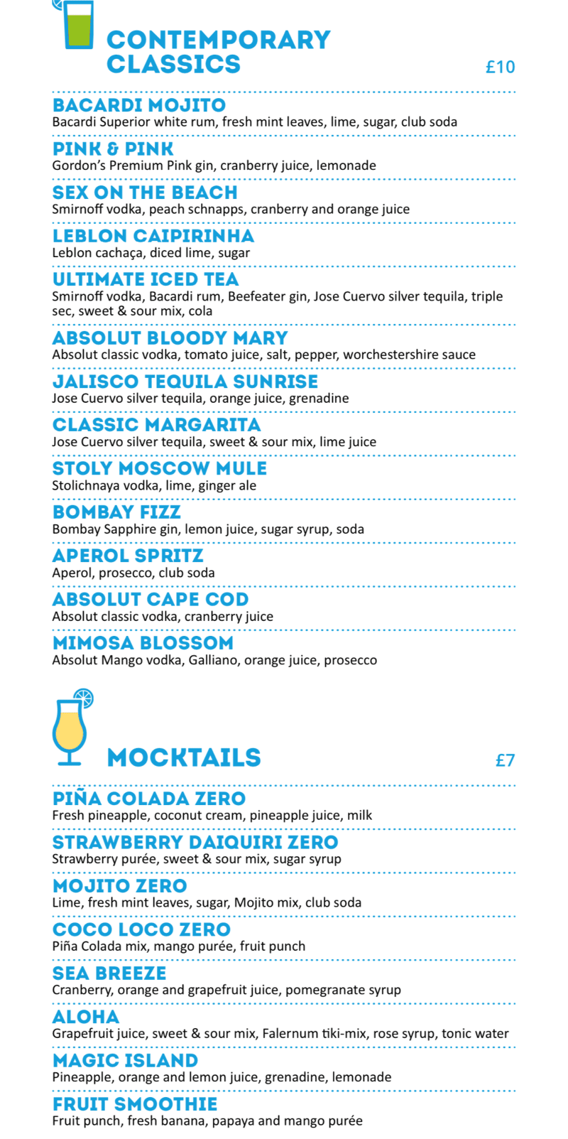 MSC Cruises Pool Bar mocktail menu