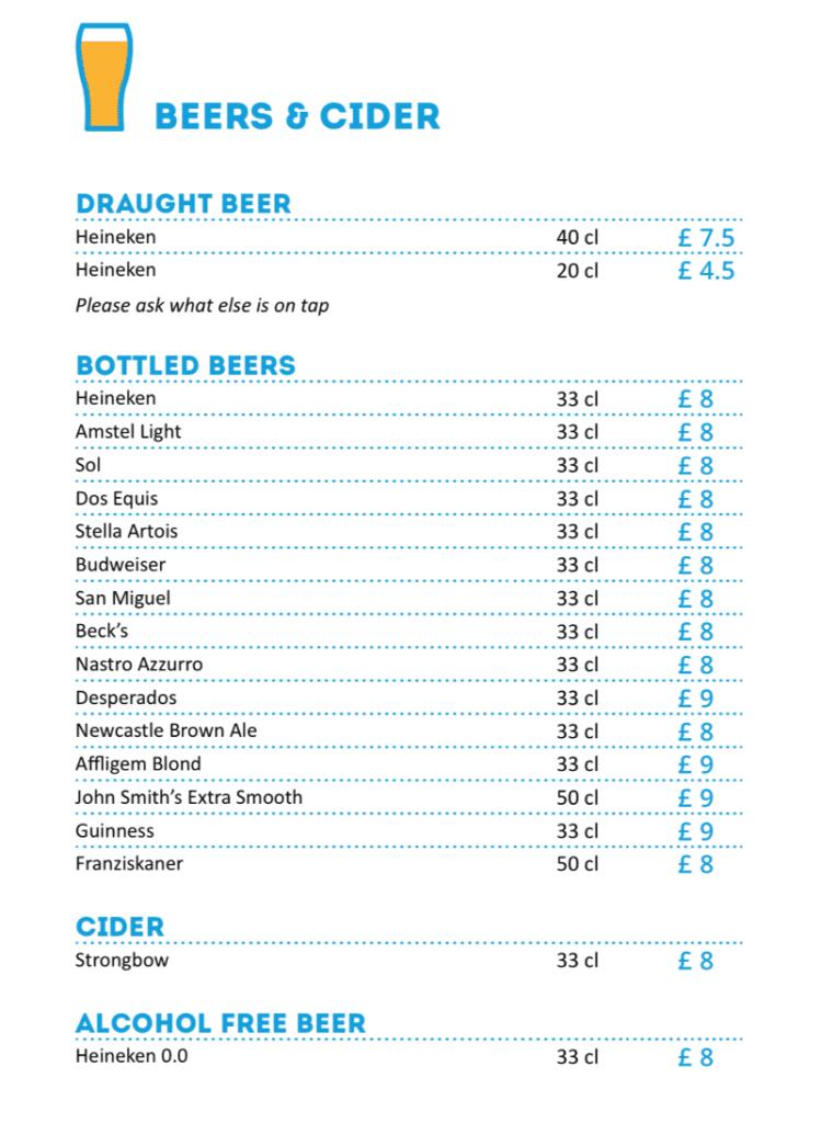 MSC Cruises Pool Bar beer and cider menu