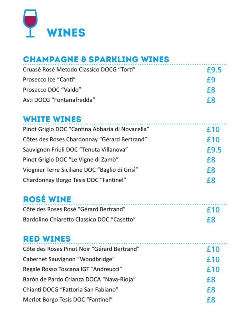 MSC Cruises Pool Bar wine list