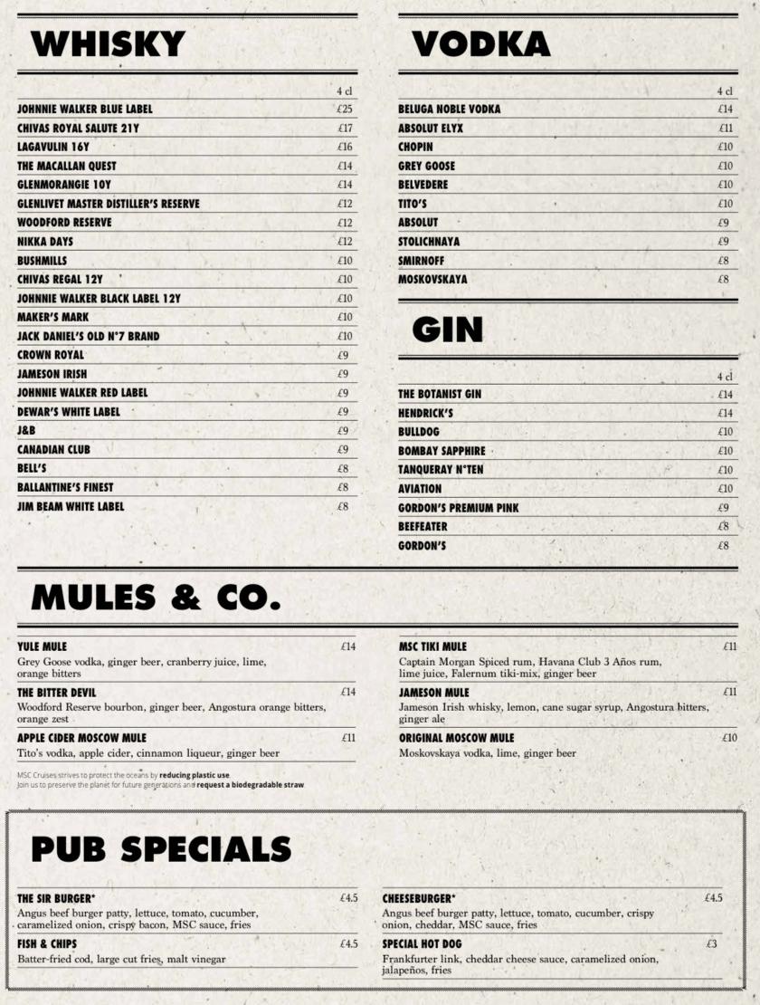 MSC Cruises pub menu