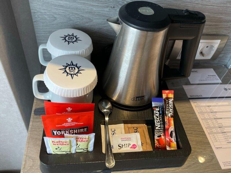 tea and coffee making facilities on MSC Cruises