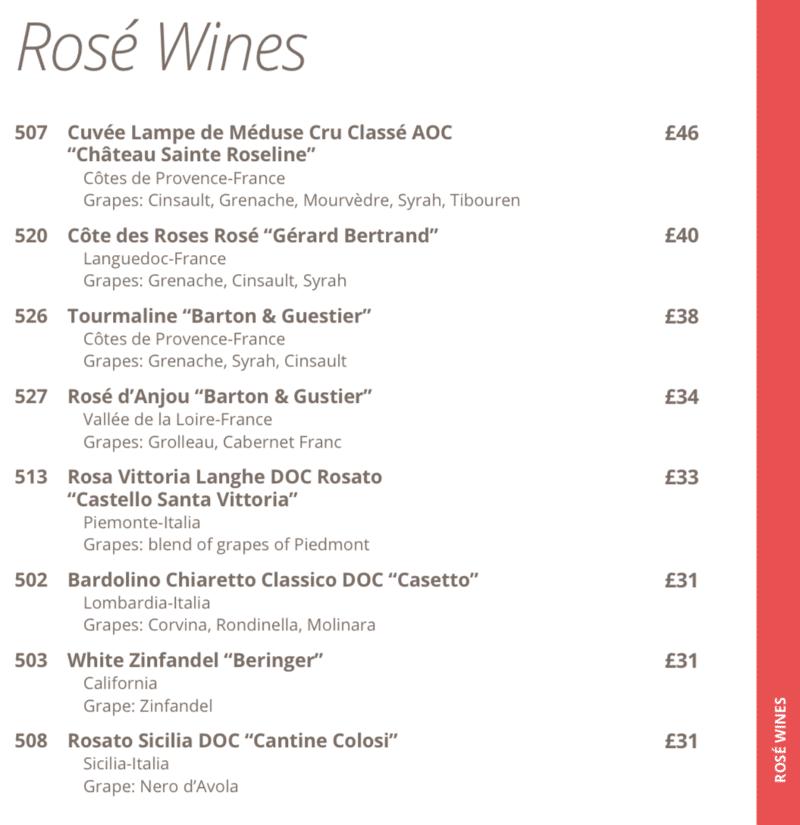 MSC Cruises rose wine list