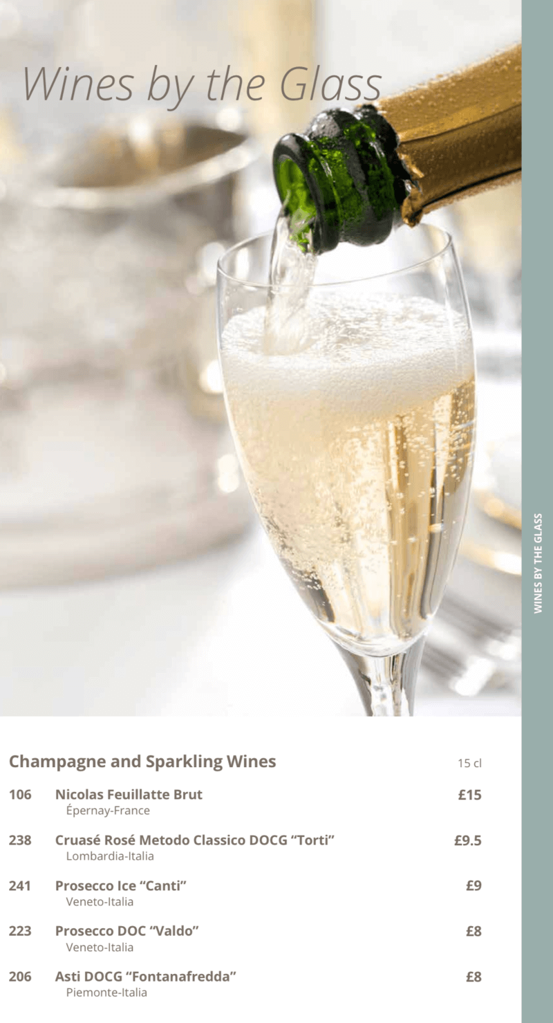 MSC Cruises wine list by the glass