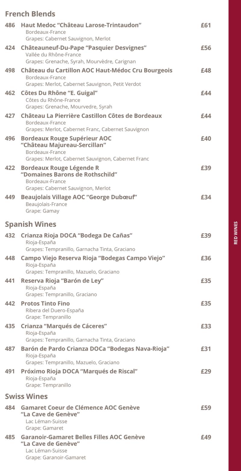 MSC Cruises red wine list