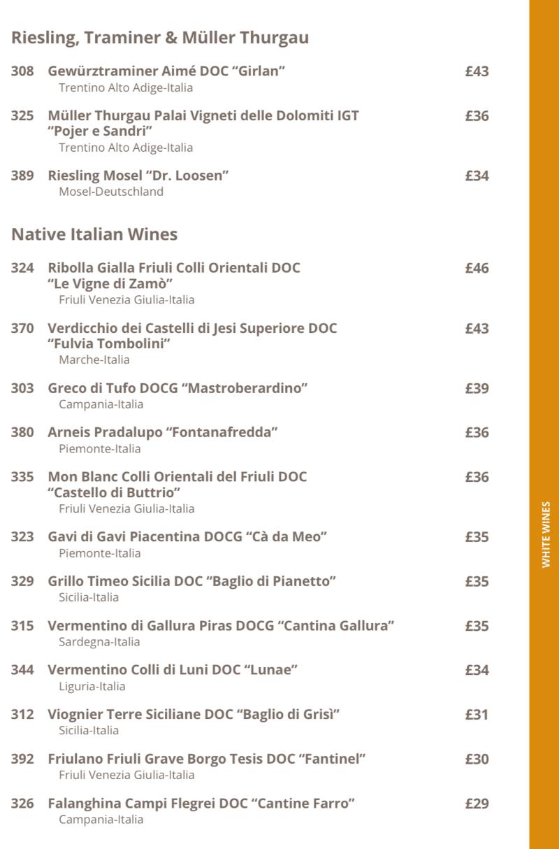 MSC Cruises white wine list