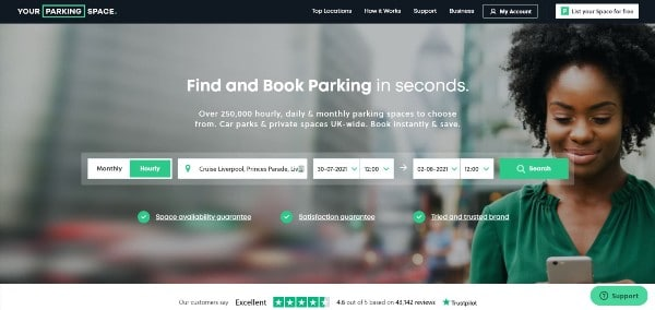 Your Parking Space website Liverpool cruise parking