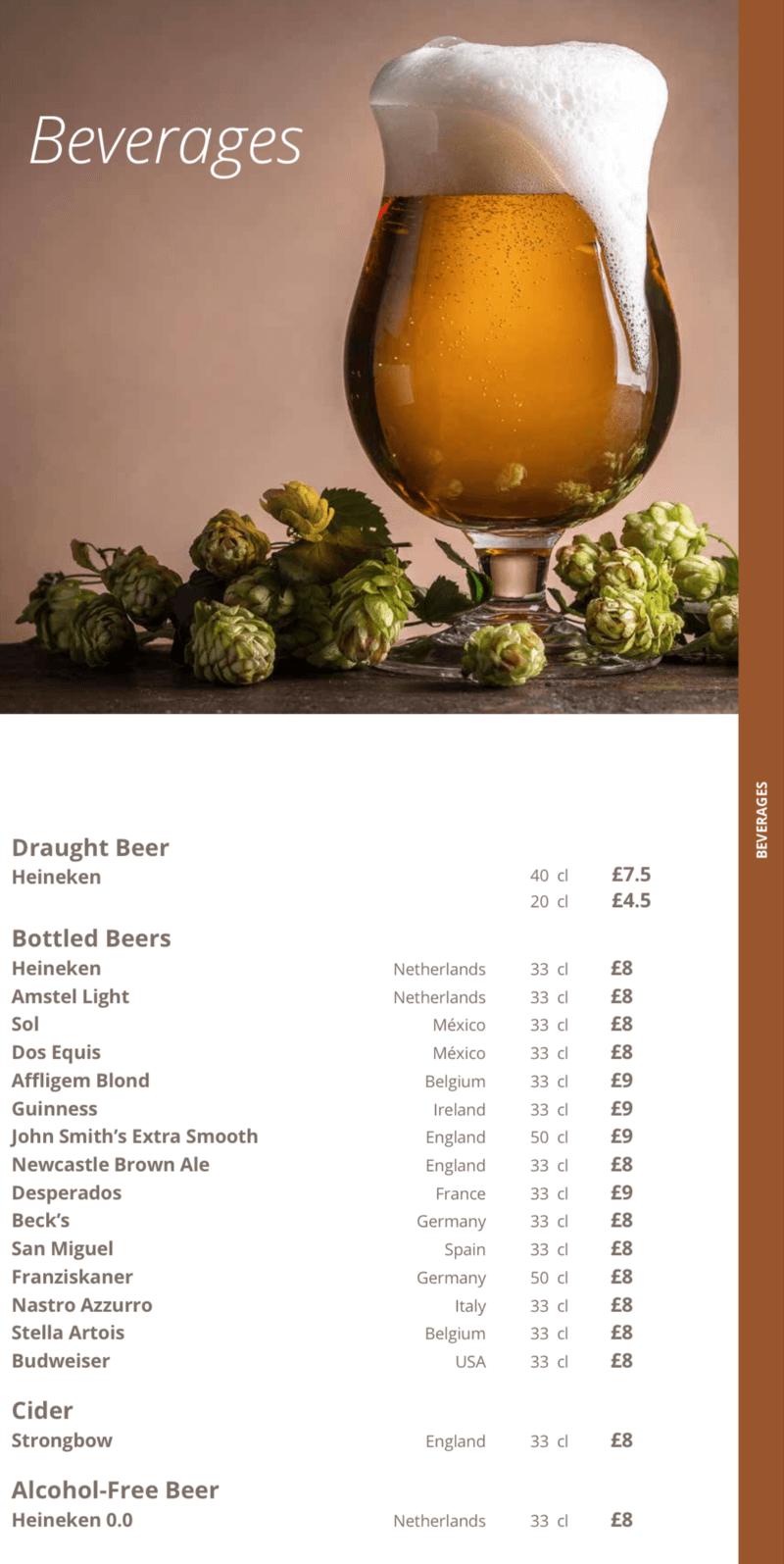 MSC Cruises beer list