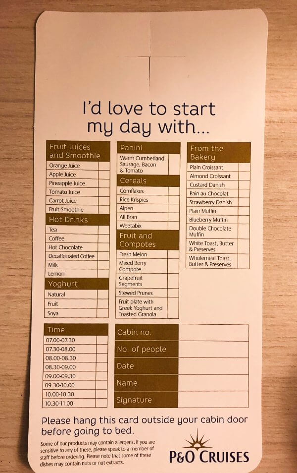p&o breakfast room service card