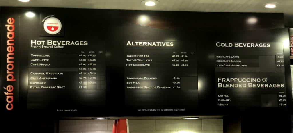 Royal Caribbean tea and coffee menu at Cafe Promenade