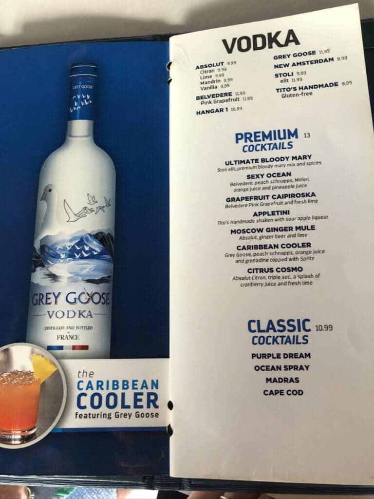 royal caribbean vodka cocktail menu
