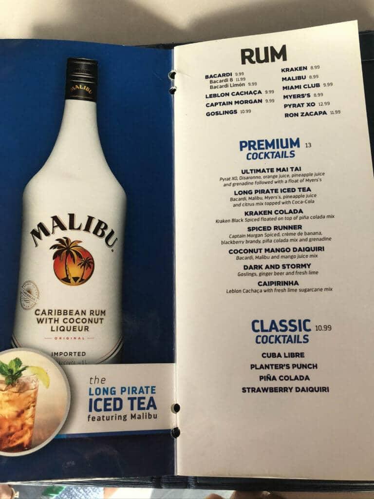 royal caribbean rum cocktail menu