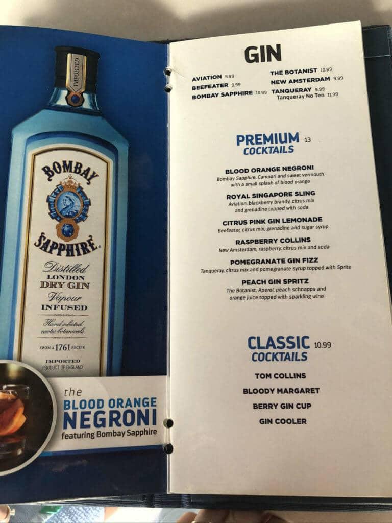 royal caribbean gin cocktail menu