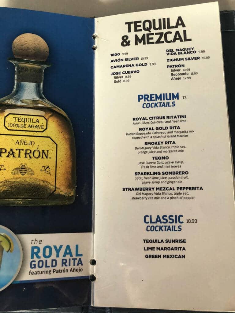 royal caribbean tequila cocktail menu