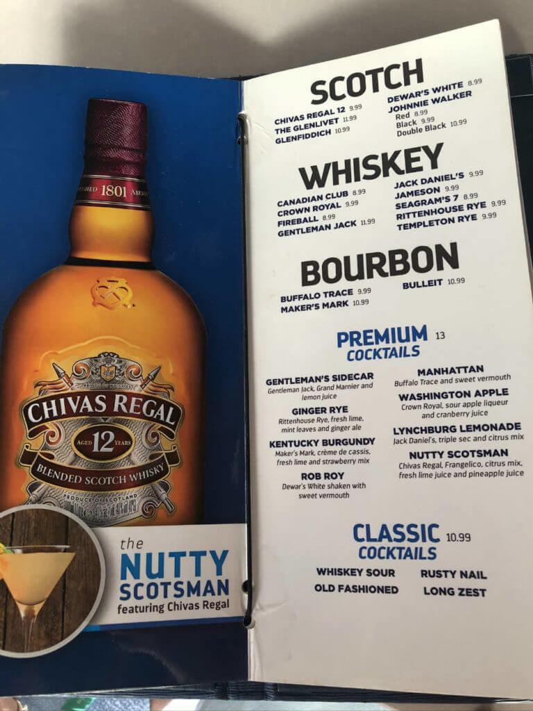 royal caribbean whiskey menu
