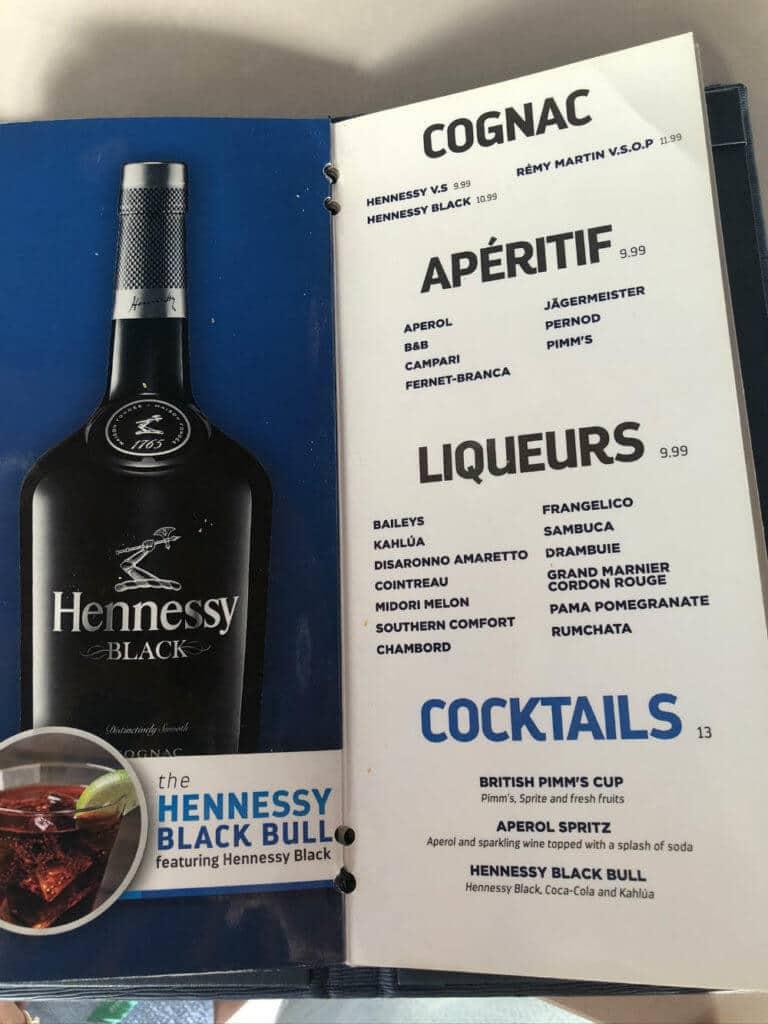 royal caribbean liqueur menu