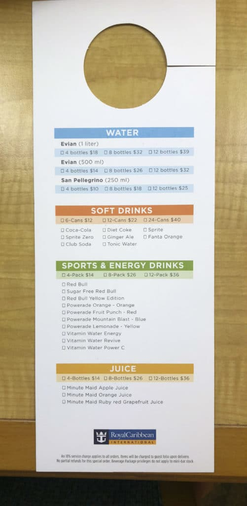Royal Caribbean mini bar menu (back)