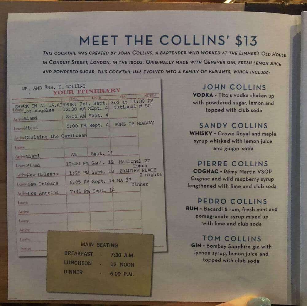 Royal Caribbean Collins menu