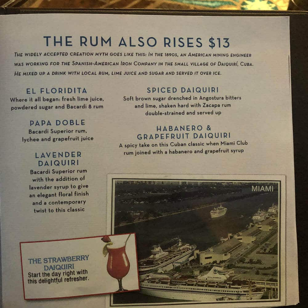 Royal Caribbean Schooner bar rum menu