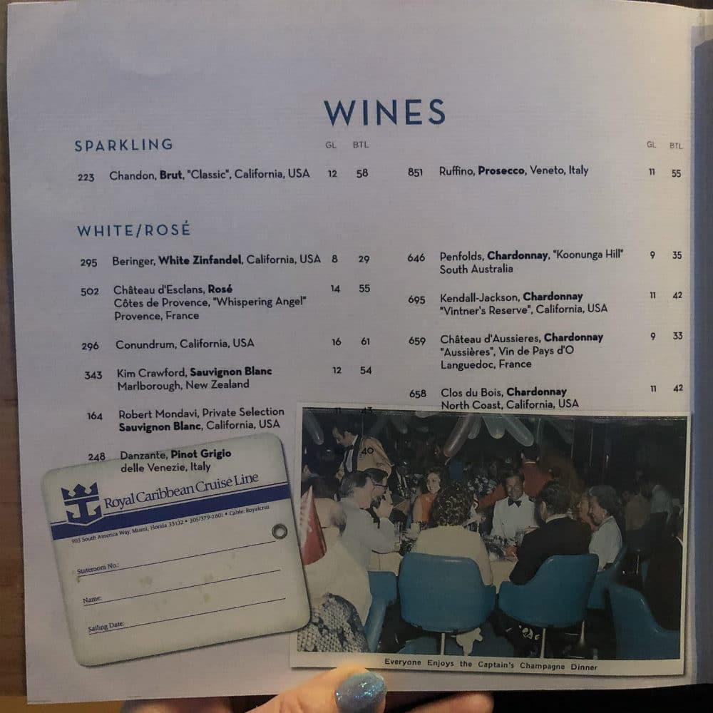Royal Caribbean wine  menu