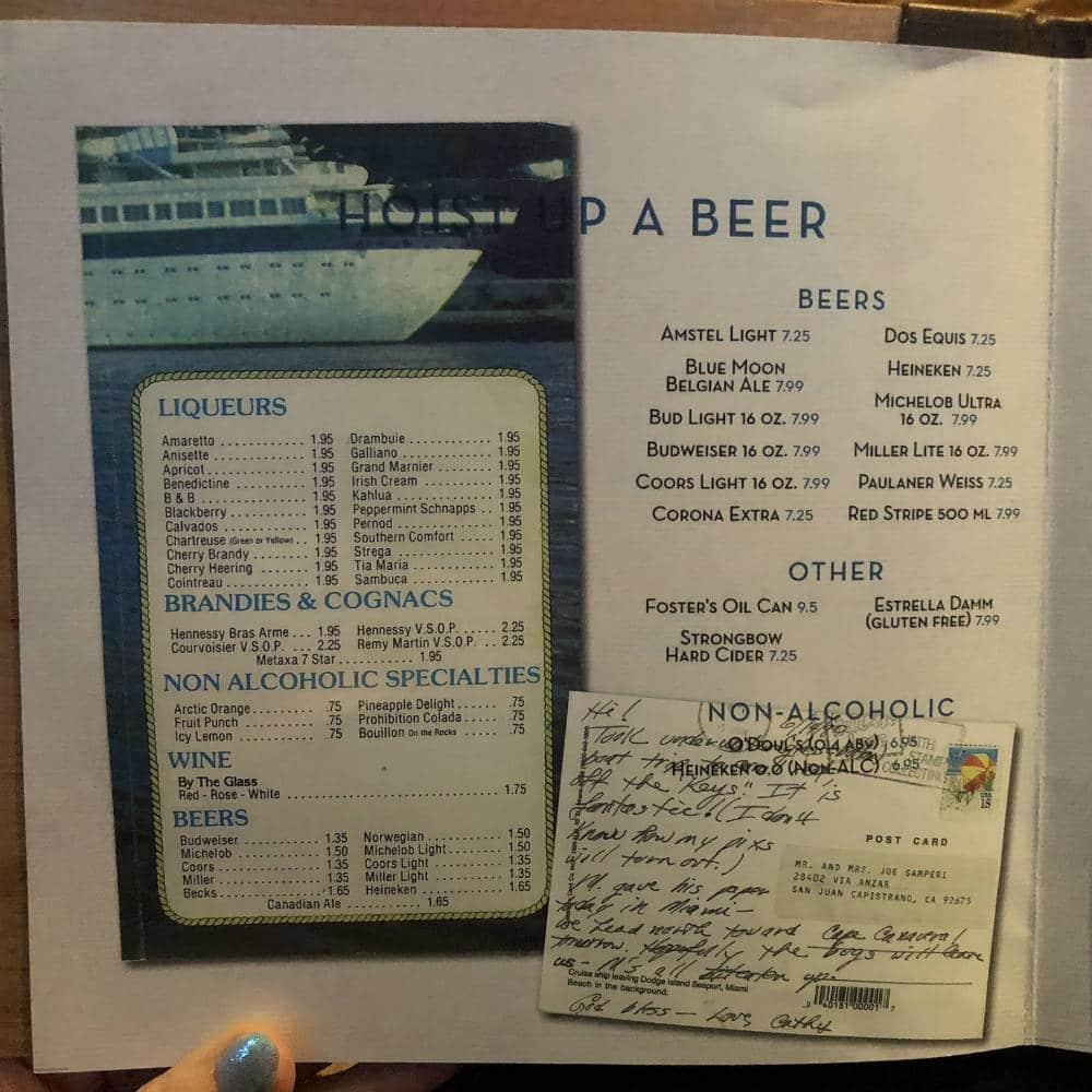 Royal Caribbean Schooner bar beer list
